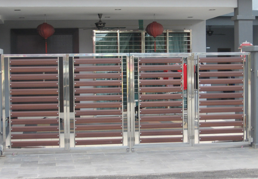 Horizontal-style-stainless-steel-with-wood-plate-main-gate